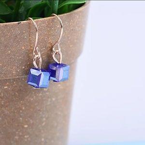 Jewelry - Dainty Blue Crystal Square Cube Dangle Earrings